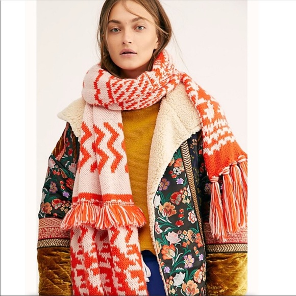 Free People Mile High knit Fringe blanket Scarf OS